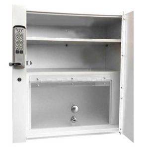 Double Wall Mount Locking Cabinet - Open