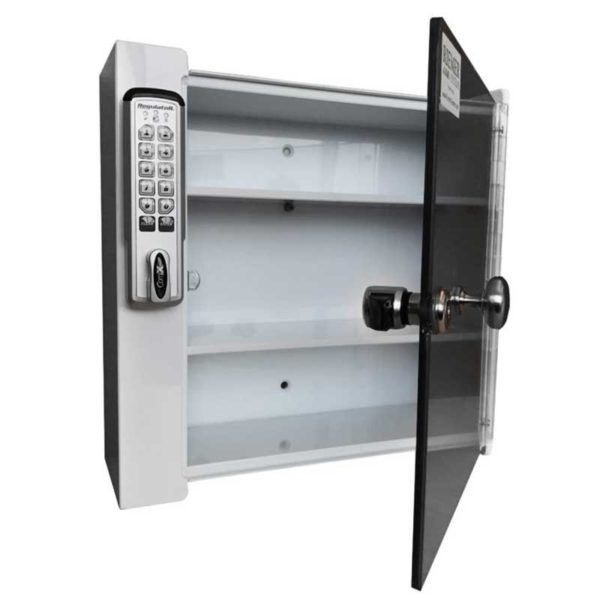 Small Wall Mounted Locking Cabinet - Door Open