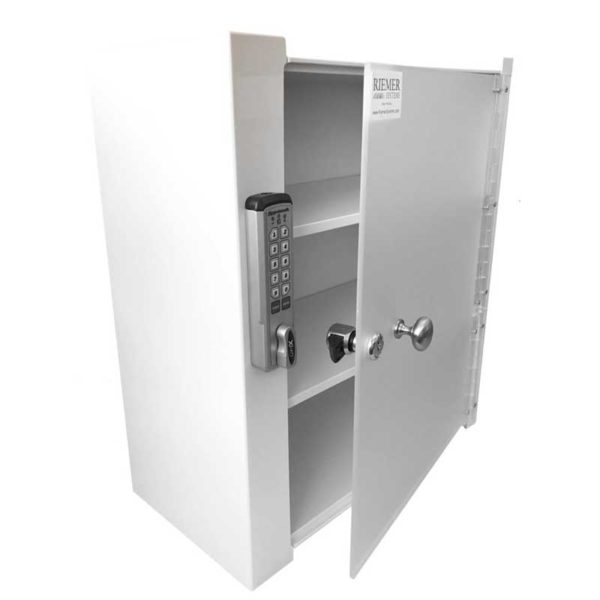 Wall Mount Locking Cabinet - Partially Open