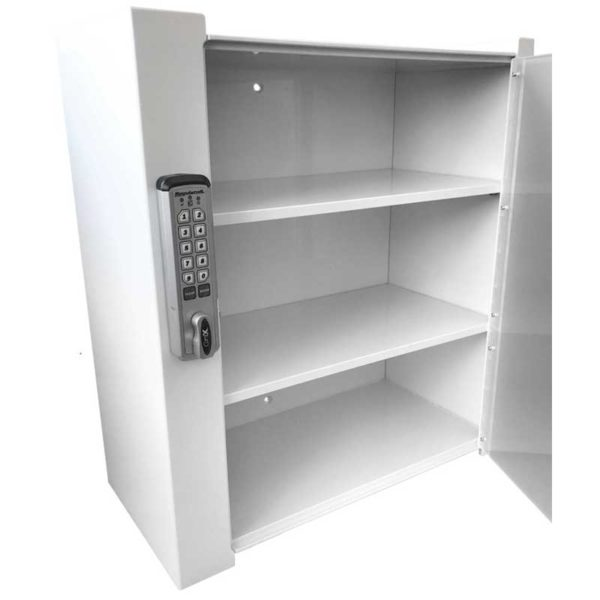 Wall Mount Locking Cabinet - Open